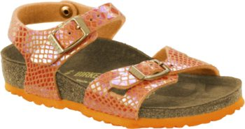 Birkenstock Rio Shiny Snake Orange