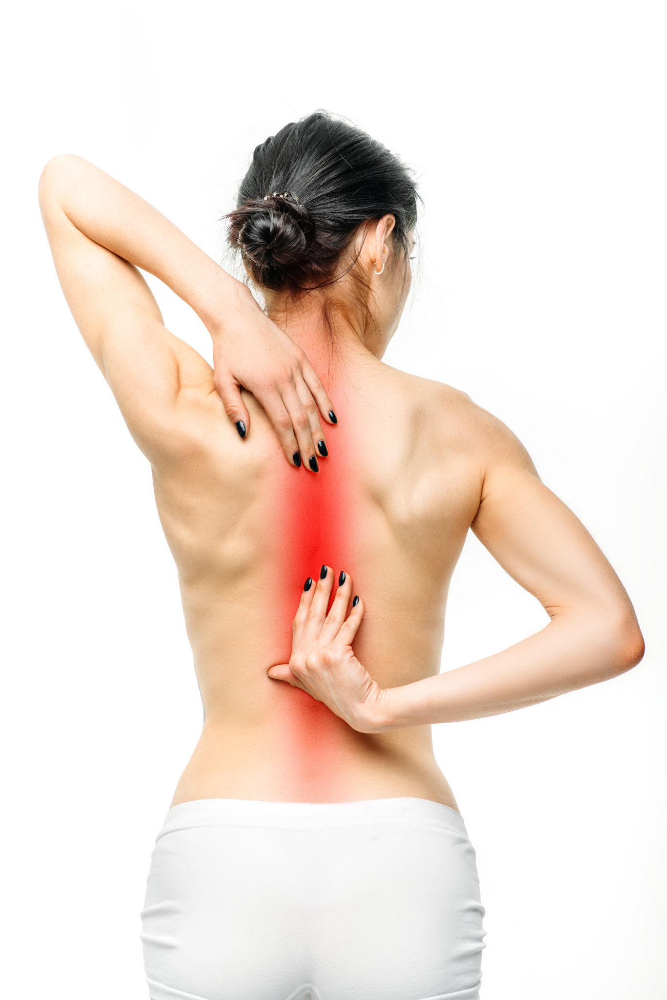 female person with backache on white background PH3FDYS scaled